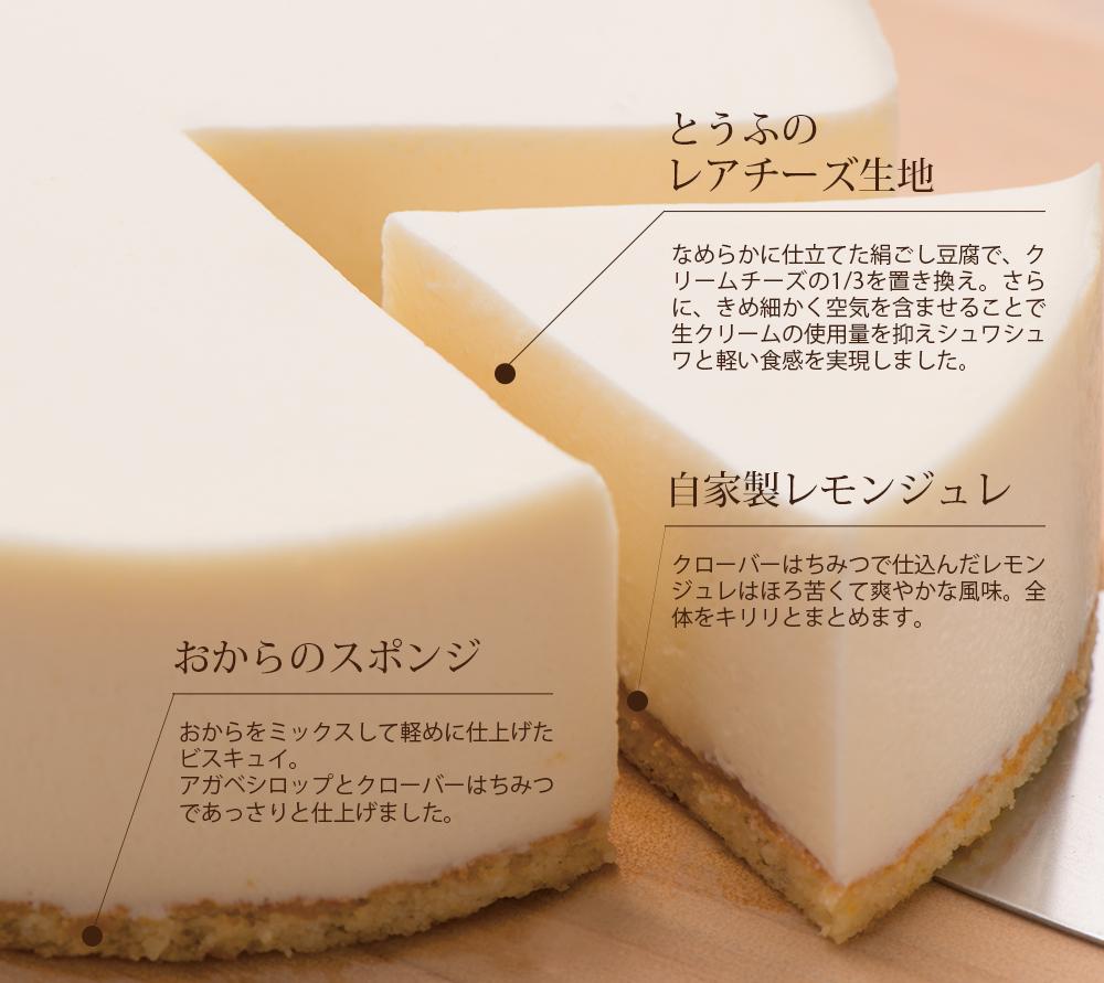 とうふのレアチーズ生地、なめらかに仕立てた絹ごし豆腐で、クリームチーズの1/3を置き換え。さらに、きめ細かく空気を含ませることで生クリームの使用量を抑えシュワシュワと軽い食感を実現しました。自家製レモンジュレ、クローバーはちみつで仕込んだレモンジュレはほろ苦くて爽やかな風味。全体をキリリとまとめます。おからのスポンジ、おからをミックスして軽めに仕上げたビスキュイ。アガベシロップとクローバーはちみつであっさりと仕上げました。